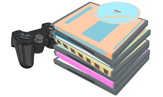 Stack big boxes disks and standard gamepad