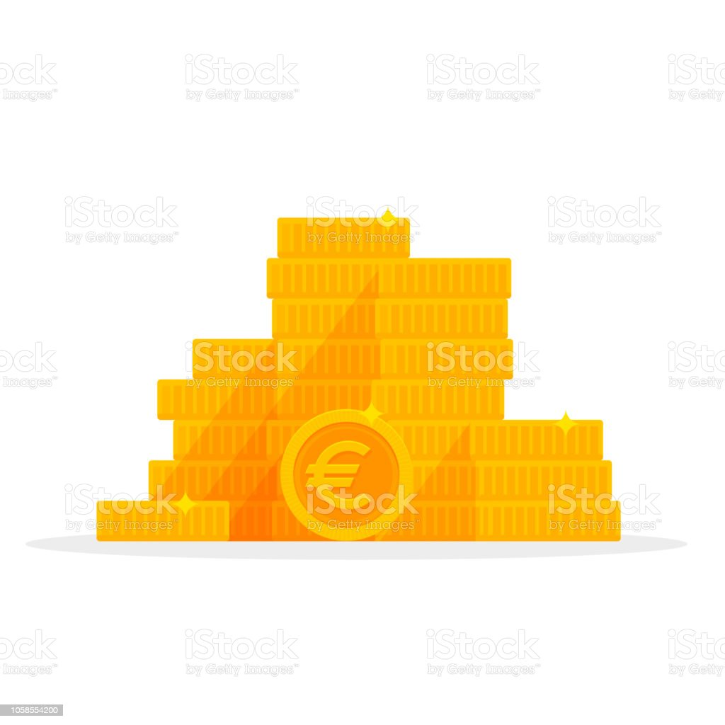 Stack Gold Euro Coins Isolated Cartoon Money Vector Illustration