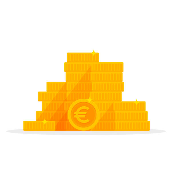 stapel gold euro münzen isoliert cartoon. geld-vektor-illustration - euros cash stock-grafiken, -clipart, -cartoons und -symbole