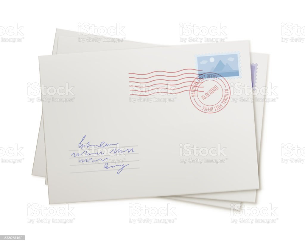 Stack mail envelopes, isolated vector art illustration
