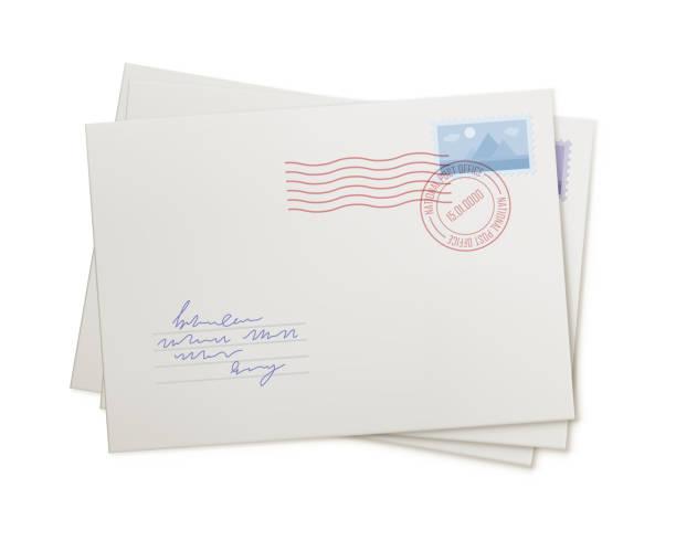 yığın posta zarflar, izole - posta stock illustrations