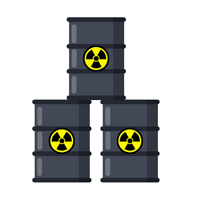 Stack of Barrel of radioactive fuel. Dangerous object. Problems of ecology