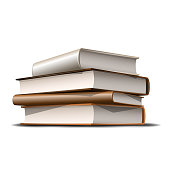 Stack of beige and brown books. Books various colors isolated on white background. Vector illustration
