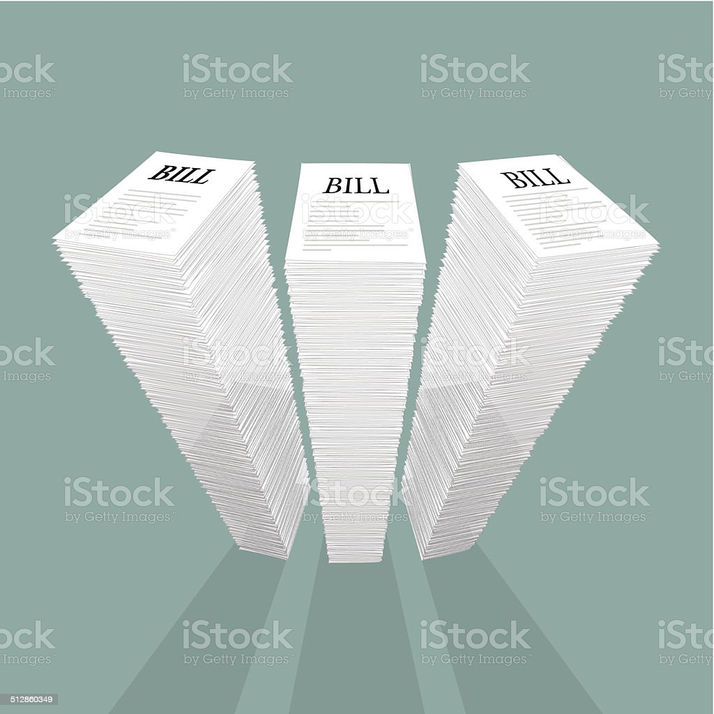 stack of bills vector art illustration