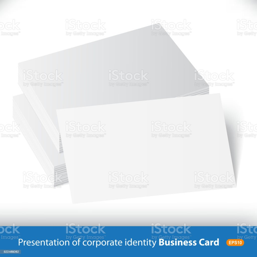 Stack Of Blank Business Card On White Background Stock