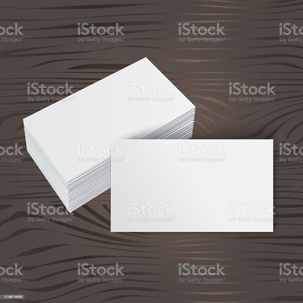 Stack Of Blank Business Card On Wooden Background Stock Vector Art ...