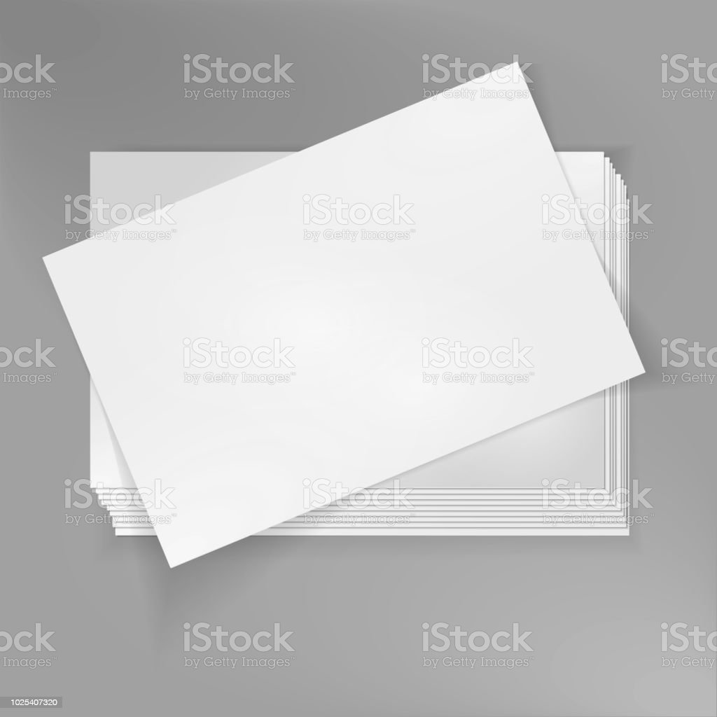 Stack of blank business cards on grey background. vector art illustration