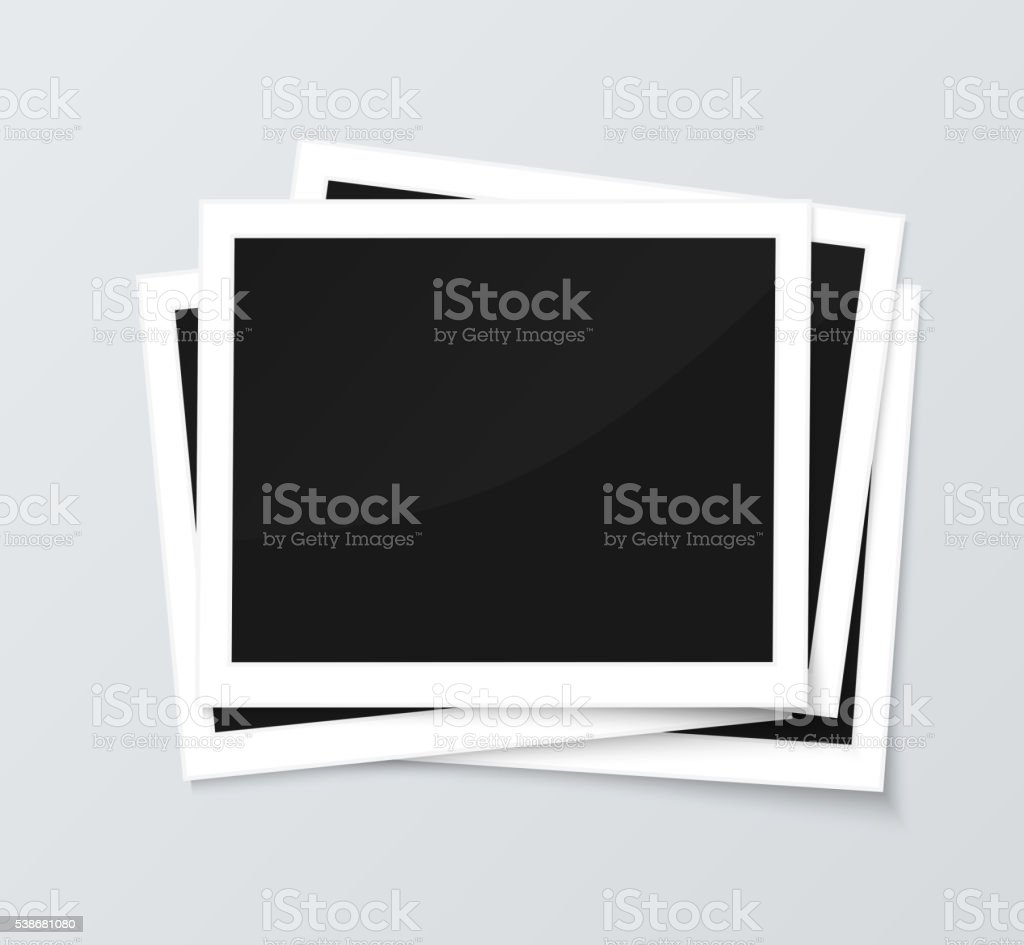 Stack Of Blank Horizontal Photo Frames From Instant Camera With ...