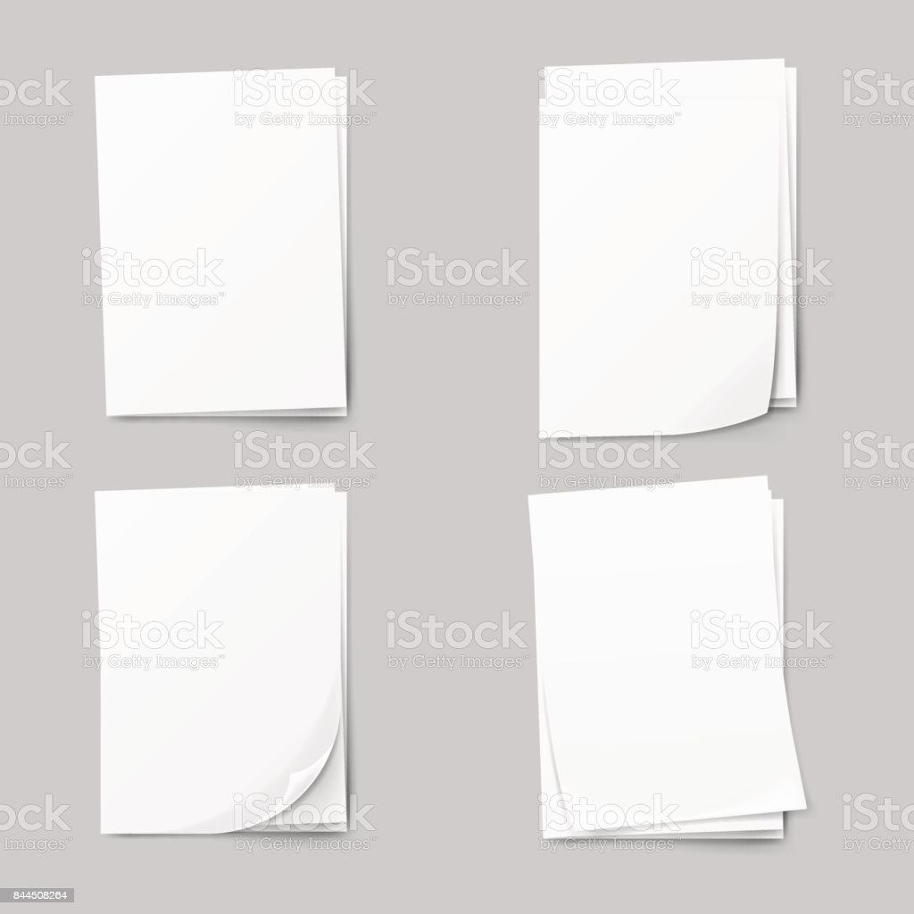 Stack of blank papers set. Realistic Collection white sheet of paper. vector art illustration