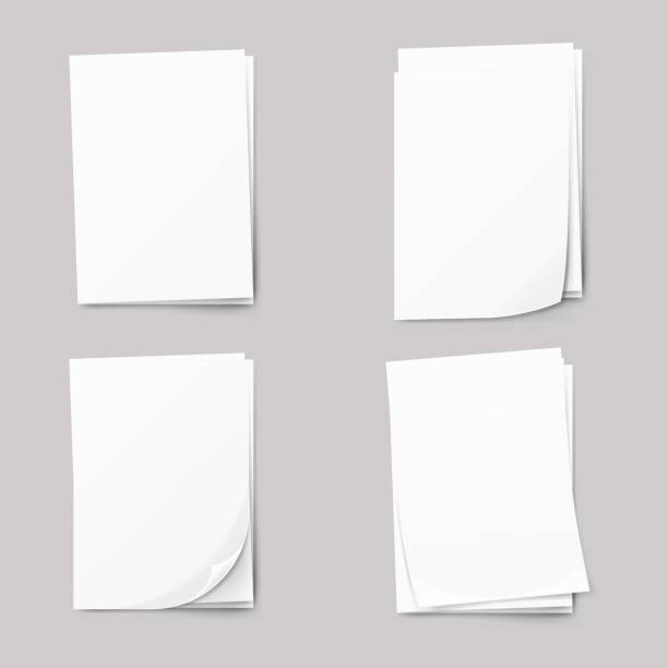 stack of blank papers set. realistic collection white sheet of paper. - newspaper stock illustrations