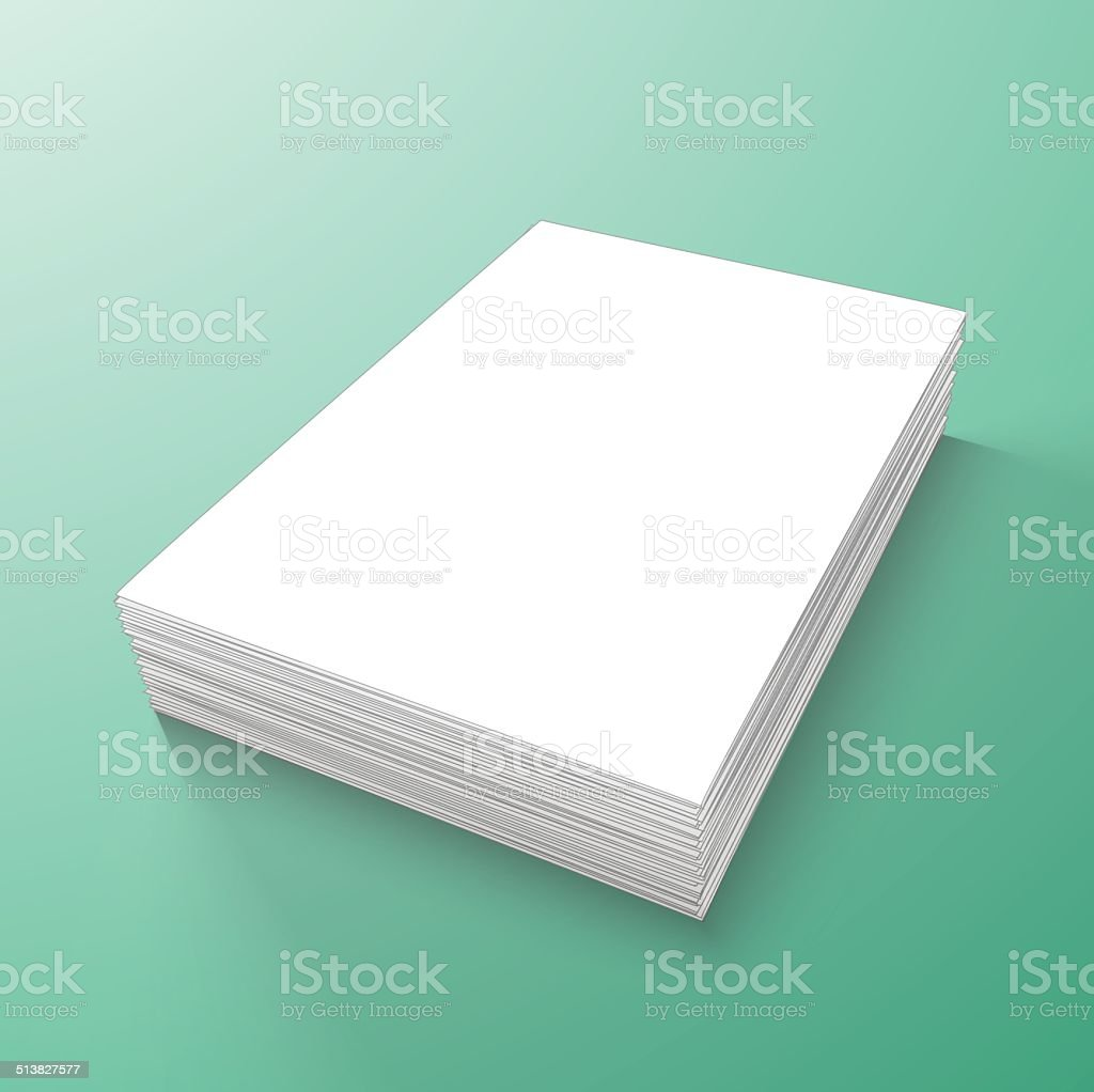 stack of blank papers vector art illustration