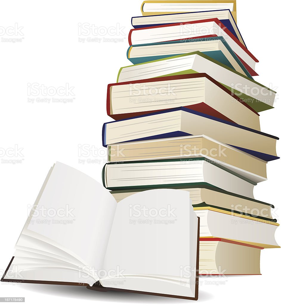 stack of books and opened book with blank pages royalty-free stack of books and opened book with blank pages stock vector art & more images of book