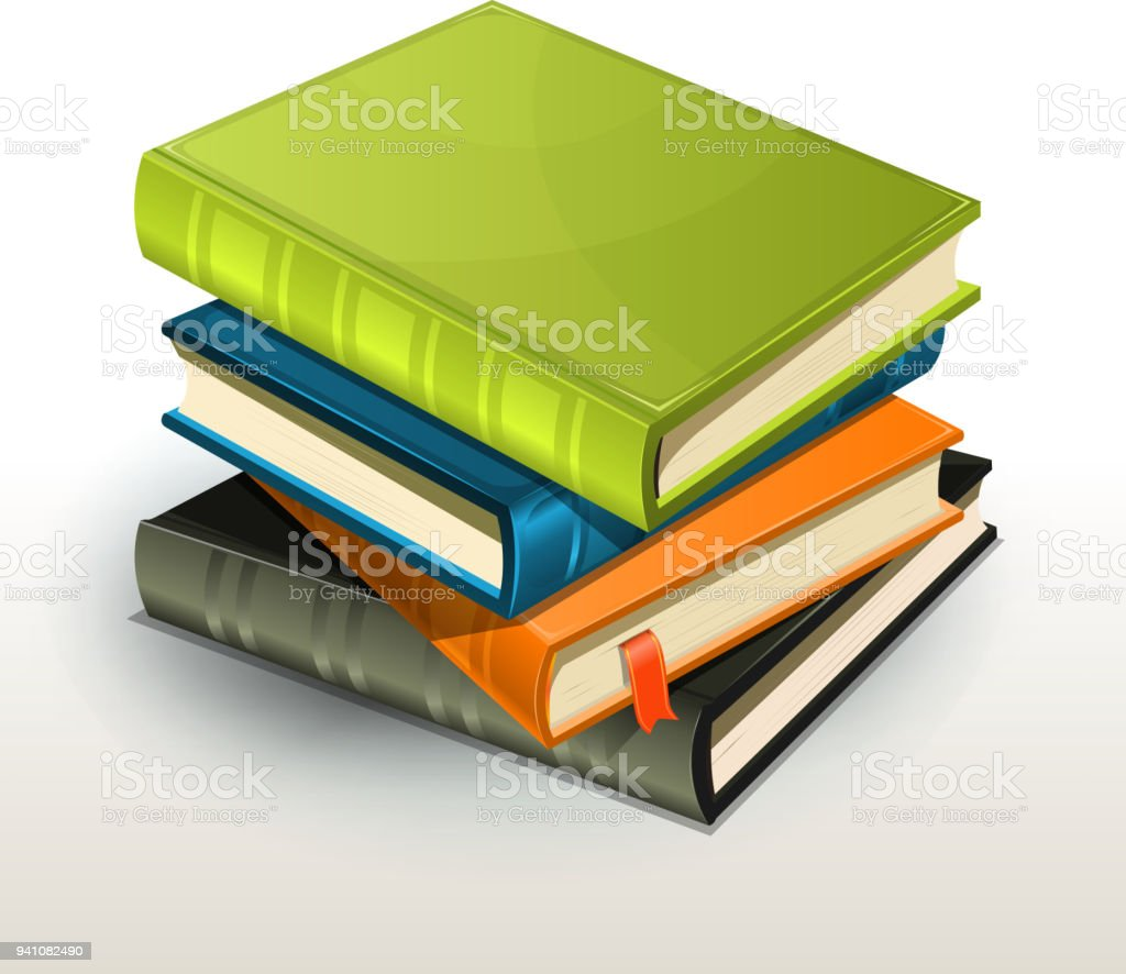 Stack Of Books And Pics Albums vector art illustration
