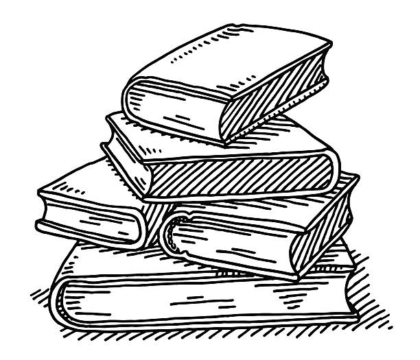 Stack Of Books Education Drawing Hand-drawn vector drawing of a Stack Of Books, Education Concept Image. Black-and-White sketch on a transparent background (.eps-file). Included files are EPS (v10) and Hi-Res JPG. book clipart stock illustrations