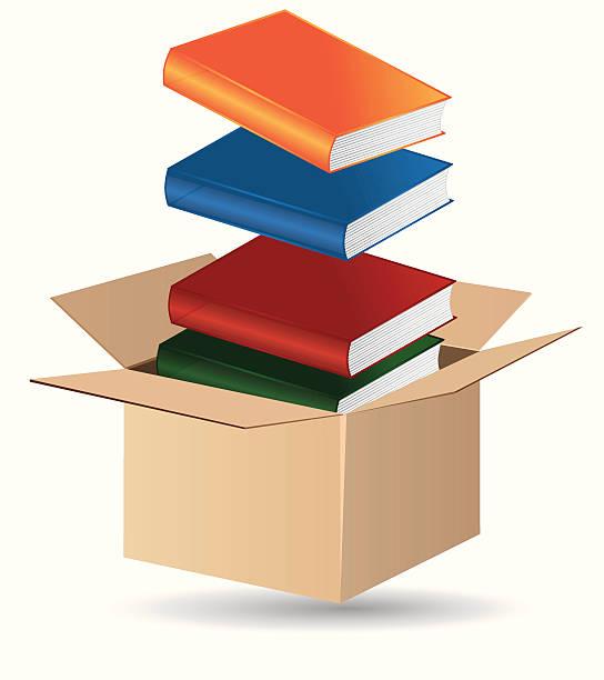 ilustraciones, imágenes clip art, dibujos animados e iconos de stock de libros en una caja - suministros escolares