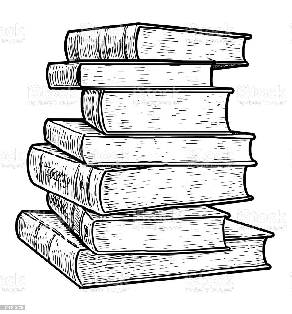 Stack Of Books Illustration Drawing Engraving Ink Line Art