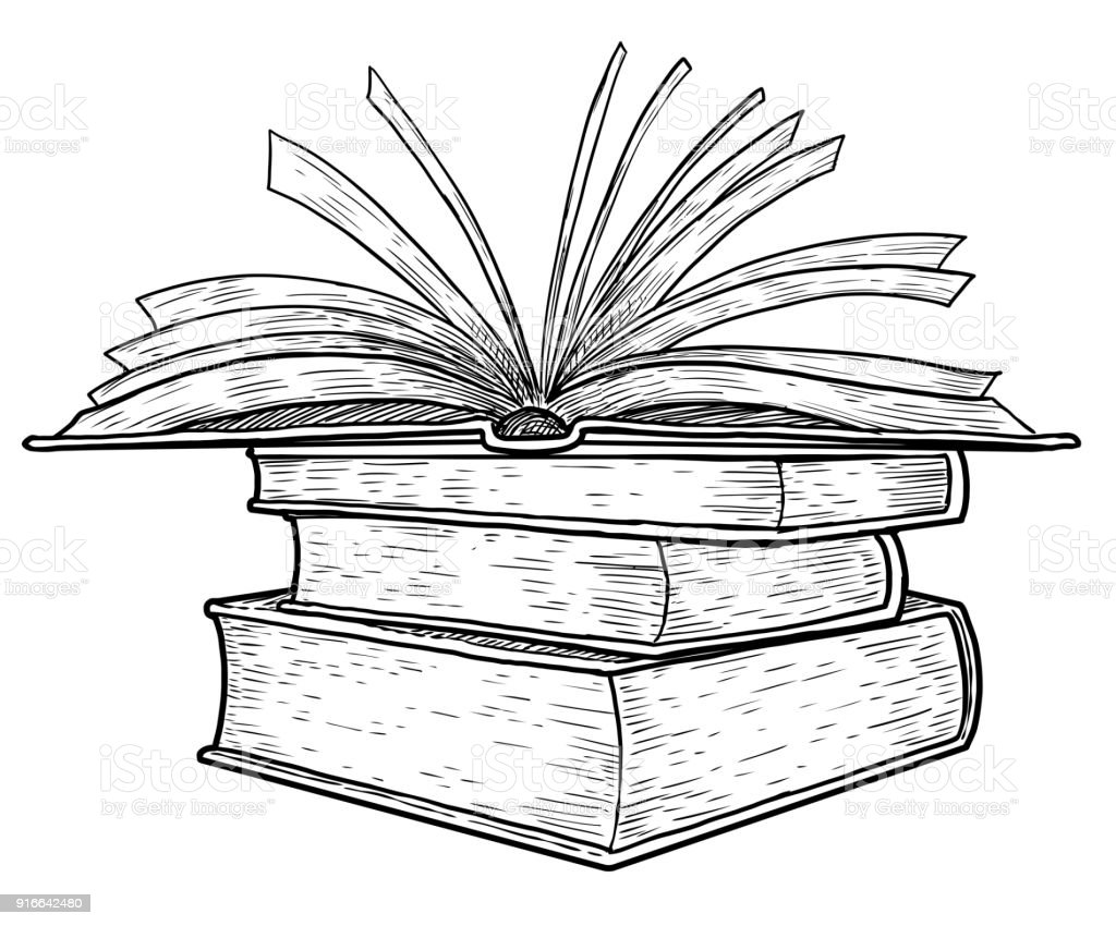 Line Art Book : Stack of books illustration drawing engraving ink line art