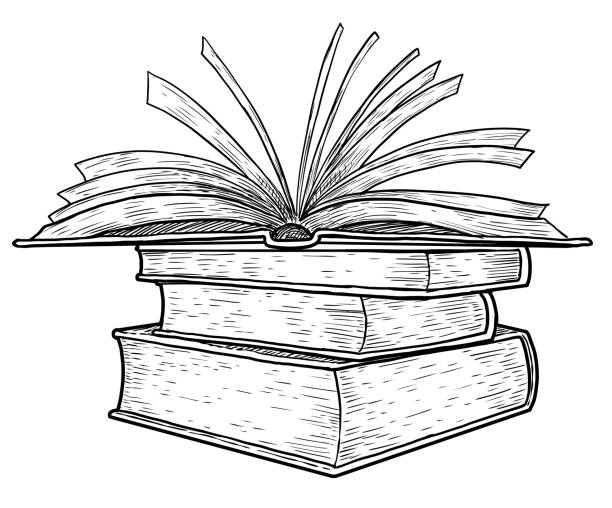 Open Book Line Drawing Royalty Free Dr...