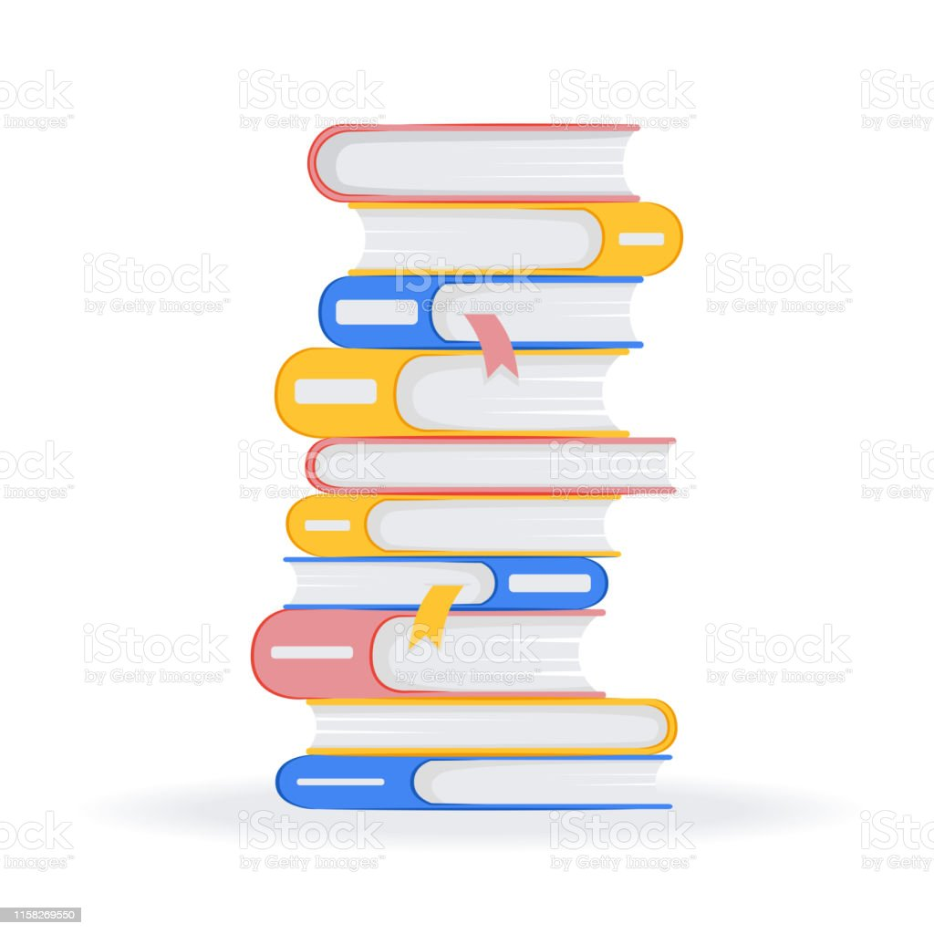 Stack of books on a white background. Pile of books vector...