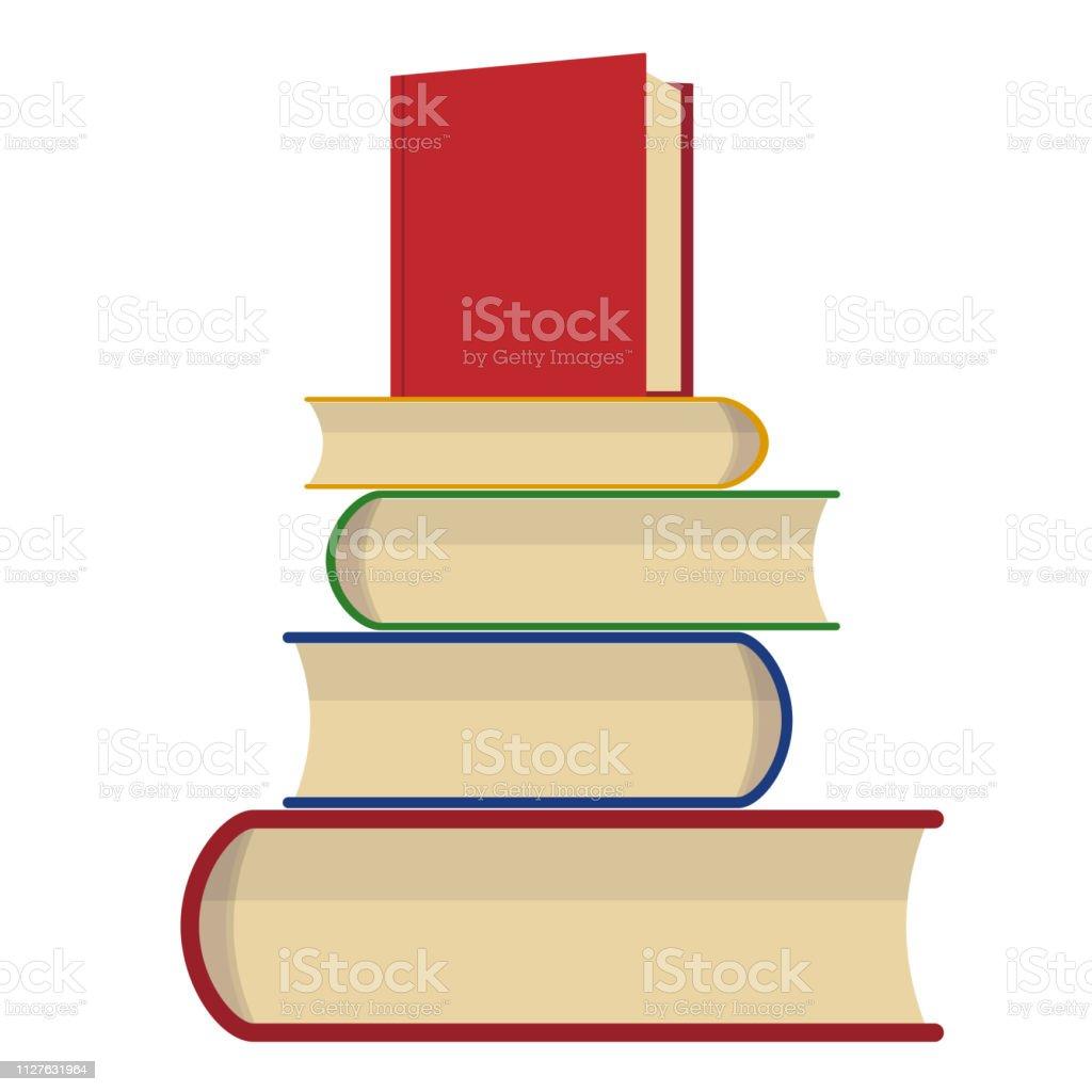 Pile De Livres Sur Un Fond Blanc Pile De Livres Illustration