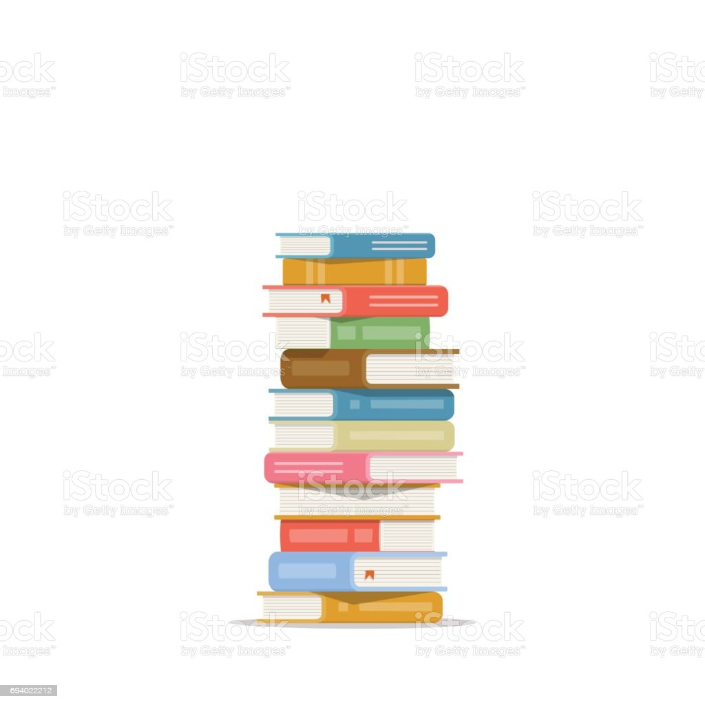Stack of books on a white background. Pile of books vector illustration. Icon stack of books in flat style vector art illustration