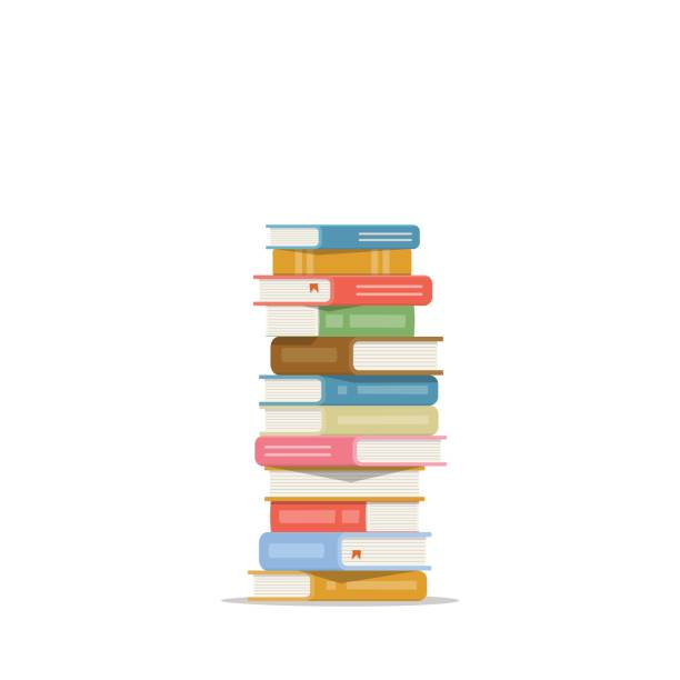 Stack of books on a white background. Pile of books vector illustration. Icon stack of books in flat style Stack of books on a white background. Pile of books vector illustration. Icon stack of books in flat style. stack stock illustrations
