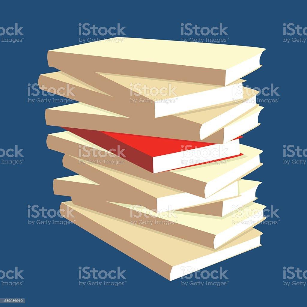 Pila de libros, el libro rojo destaca entre los demás ilustración de pila de libros el libro rojo destaca entre los demás y más banco de imágenes de aprender libre de derechos