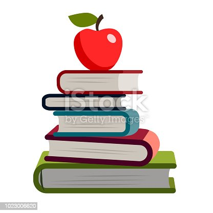 Stack of books simple flat vector illustration. Hardback books with colorful covers. Back to school, literacy, library, reading, education, teaching, learning theme design element isolated on white.