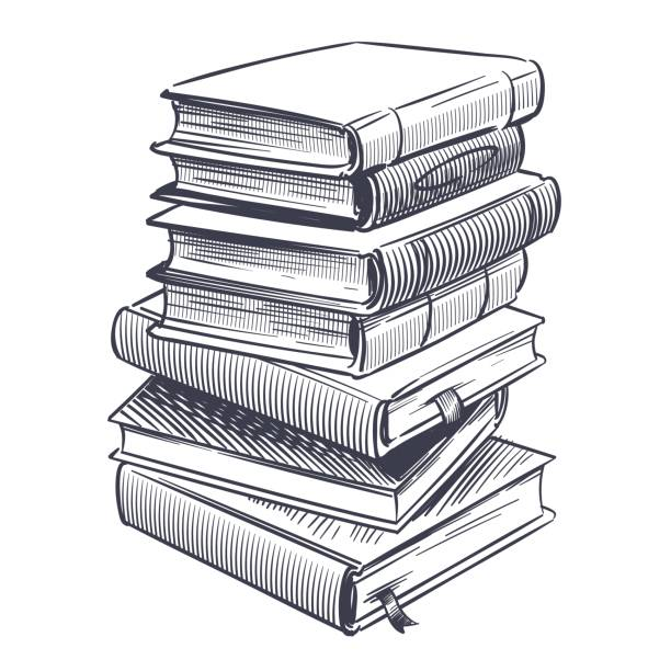 Stack of books sketch. Drawings engrave pile of old vintage dictionary and study research book vector illustration Stack of books sketch. Drawings engrave pile of old vintage dictionary and study research book vector doodle education stacked library literature illustration textbook stock illustrations