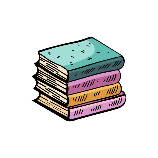 Stack of books, textbooks vector drawing isolated on white background. Cartoon cute Doodle, colorful illustration. Funny works of art. Stack of books, textbooks vector drawing isolated on white background. Cartoon cute Doodle, colorful illustration. Funny works of art. book drawings stock illustrations