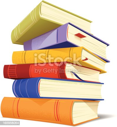 Colorful books stacked. EPS10 with transparencies. Large JPG included.
