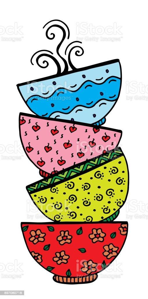 Stack of bowl. Doodle style. - Illustration Kitchen Utensil, Indonesia, Ceramics vector art illustration