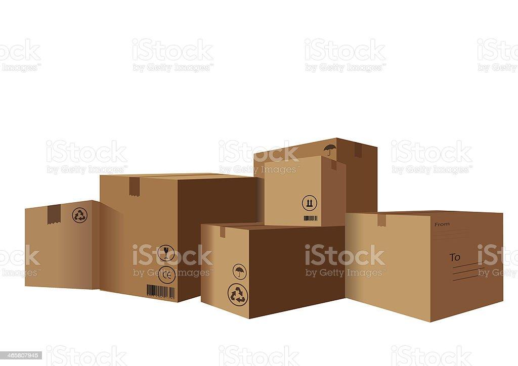 stack of Cardboard Boxes vector art illustration