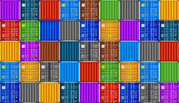 stockillustraties, clipart, cartoons en iconen met stapel van cargo containers, naadloze vector achtergrond - vrachtcontainer