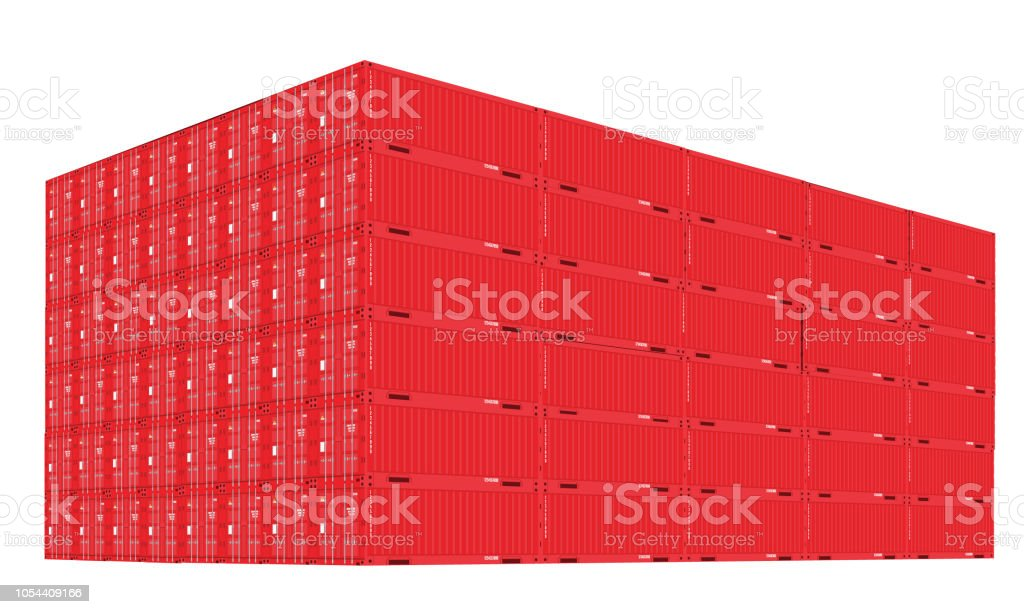 Stack of cargo containers with perspective view. Red color. Vector illustration.