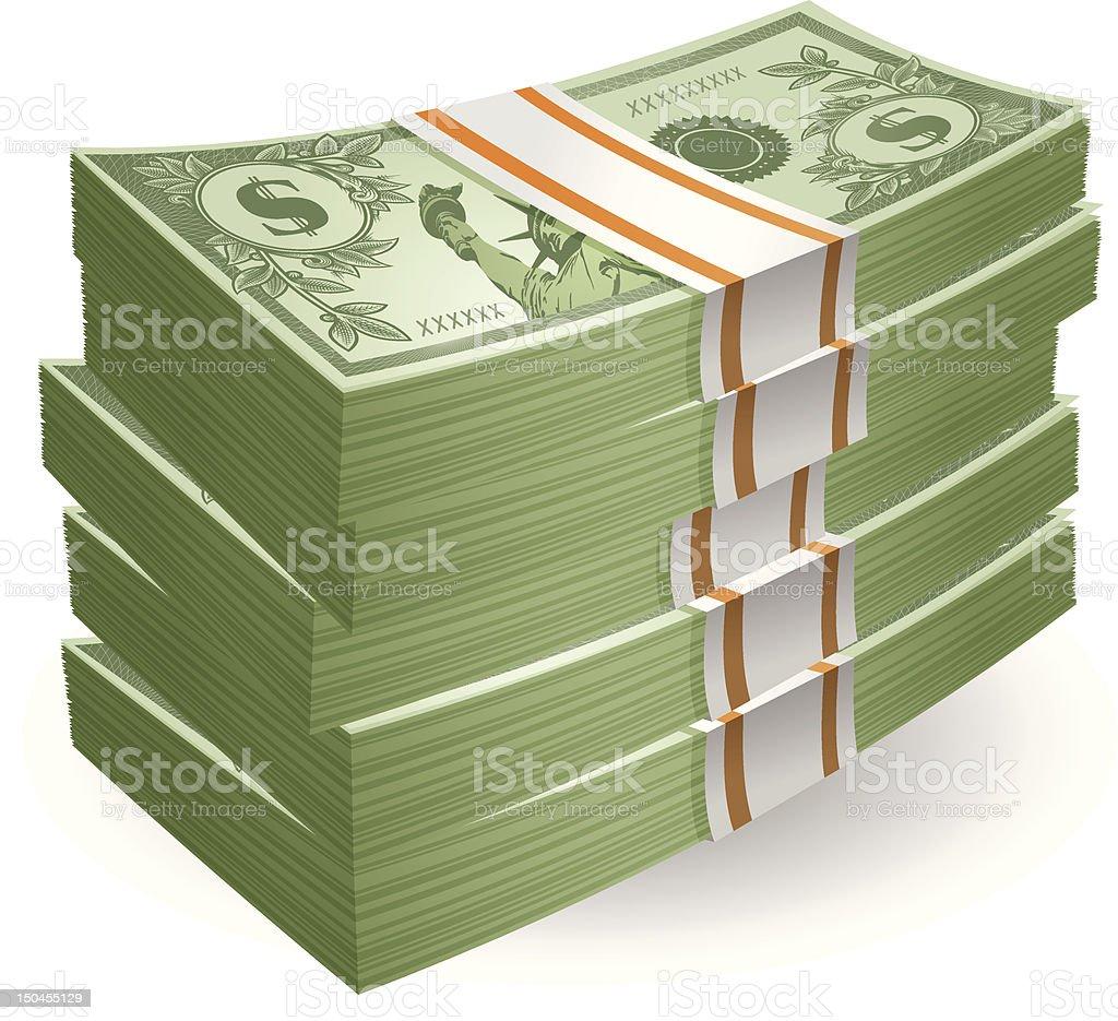 Stack of Cash vector art illustration