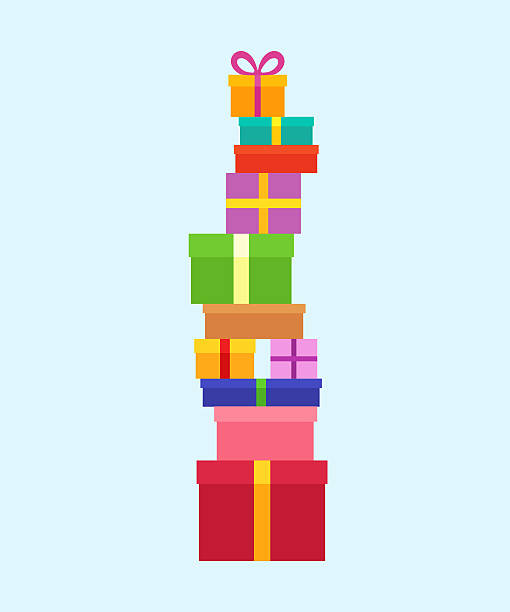 Stack of Christmas Boxes vector art illustration