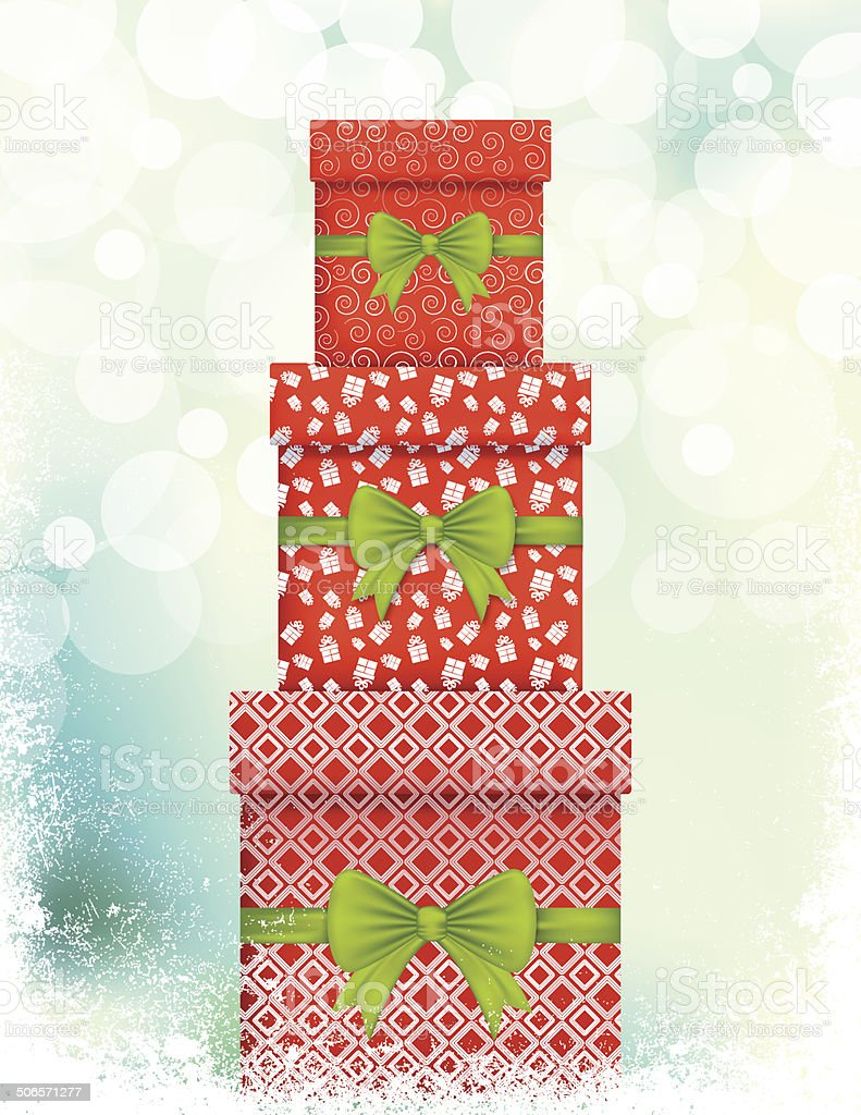 Stack of Christmas Gifts and Evergreens In Red royalty-free stock vector art