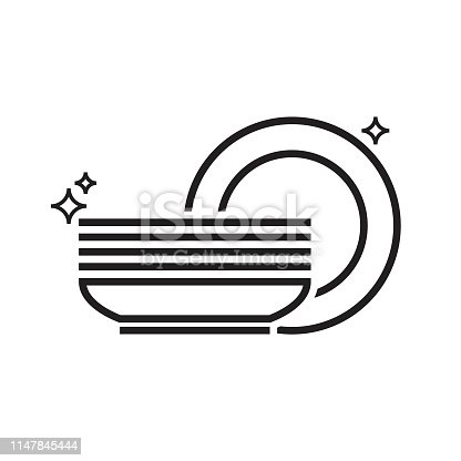 Pile of clean dishes isolated on white background. Kitchen line icon cutlery after wash. Detergent label design template. Vector illustration.