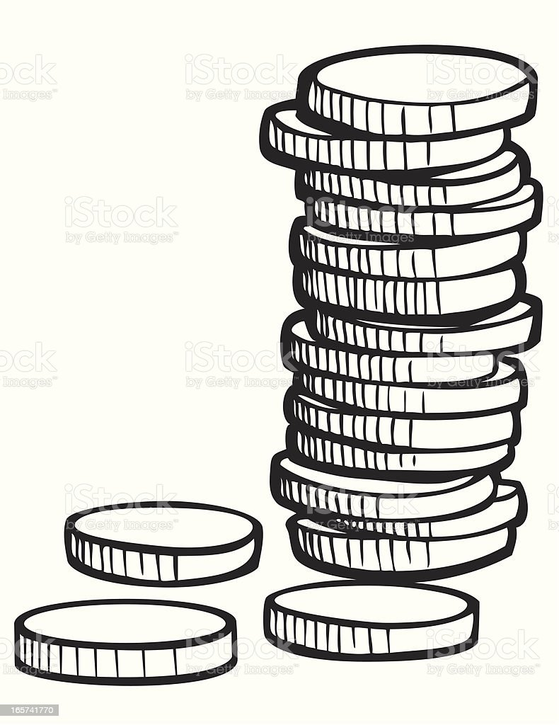 Stack Of Coins In Black And White Stock Vector Art & More ...