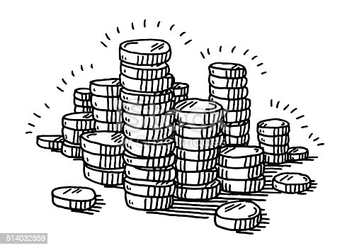 Stack Of Coins Money Drawing Stock Vector Art & More