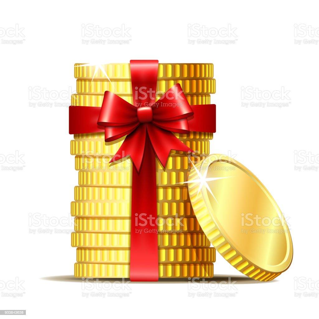 Stapel Von Münzen Mit Rotem Band Und Geschenk Bogen Stock Vektor Art