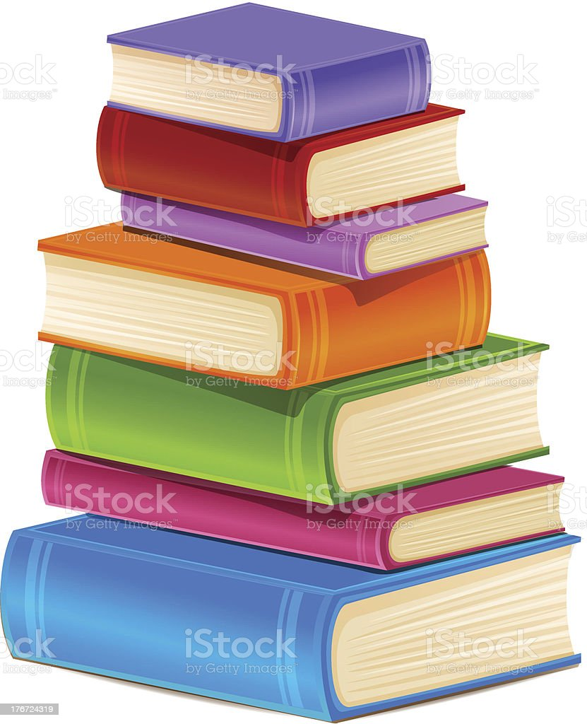 Stack of colorful books isolated on white royalty-free stock vector art
