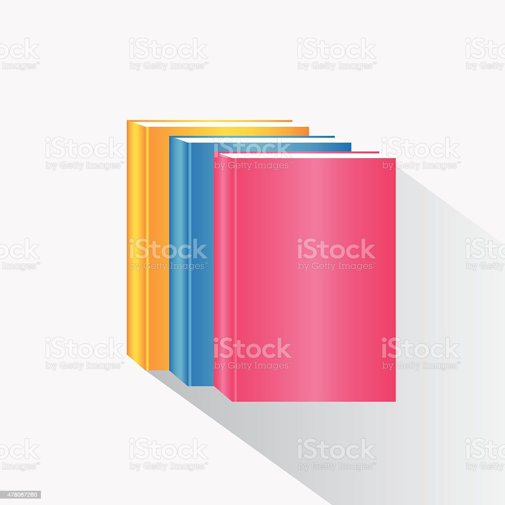 Stack of colorful books vector art illustration
