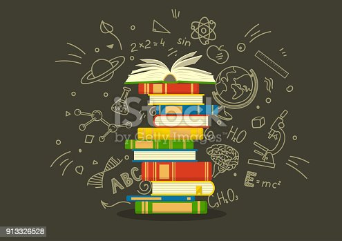 Stack of colorful books with education sketches.