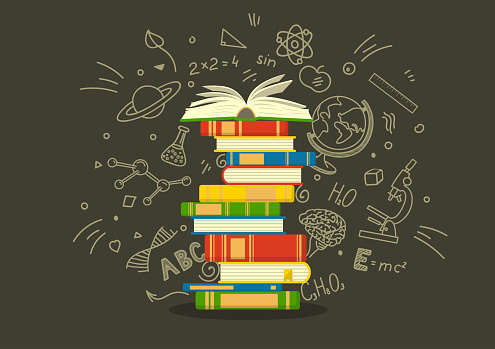 Stack of colorful books with education sketches. Studying vector illustration.