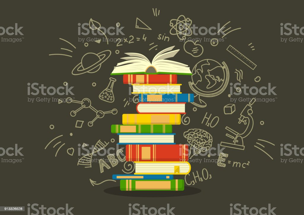 Stack of colorful books with education sketches. vector art illustration