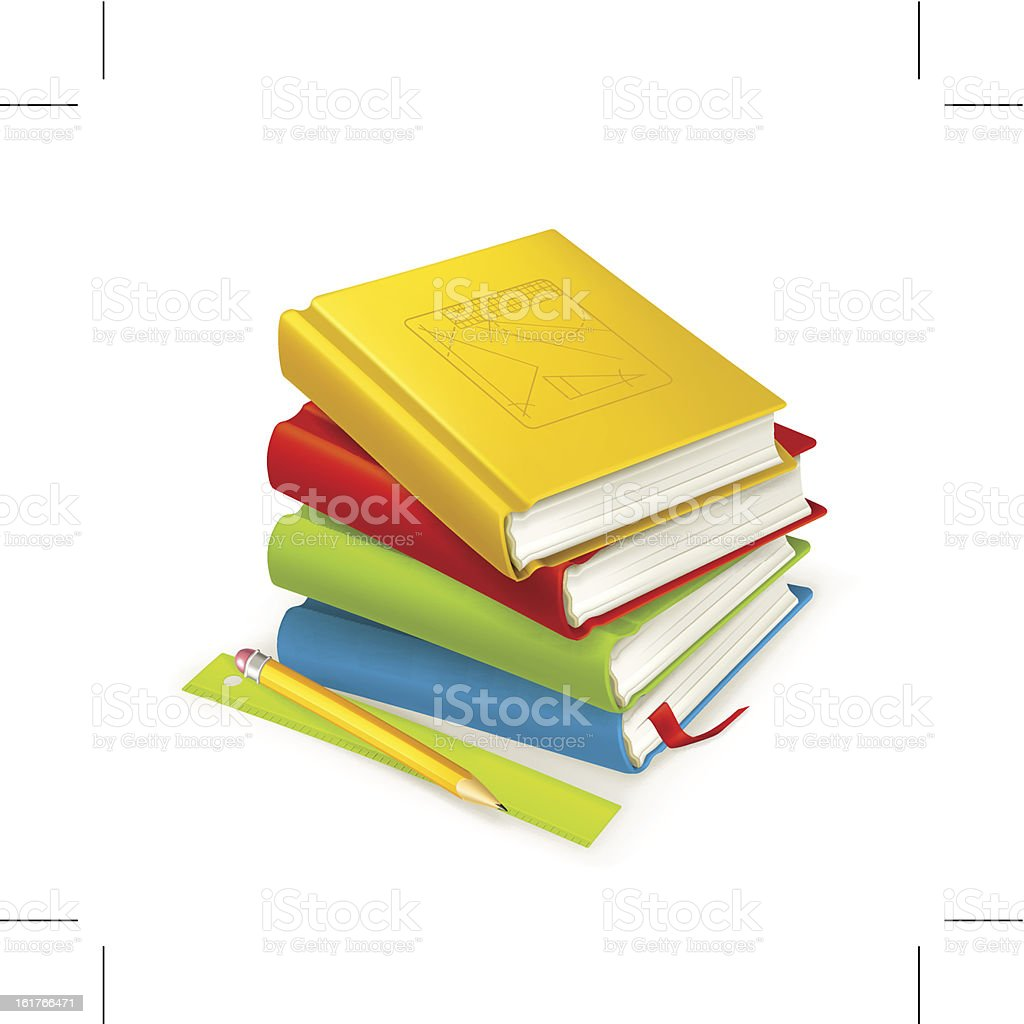 Stack of colorful textbooks next to a ruler and pencil vector art illustration