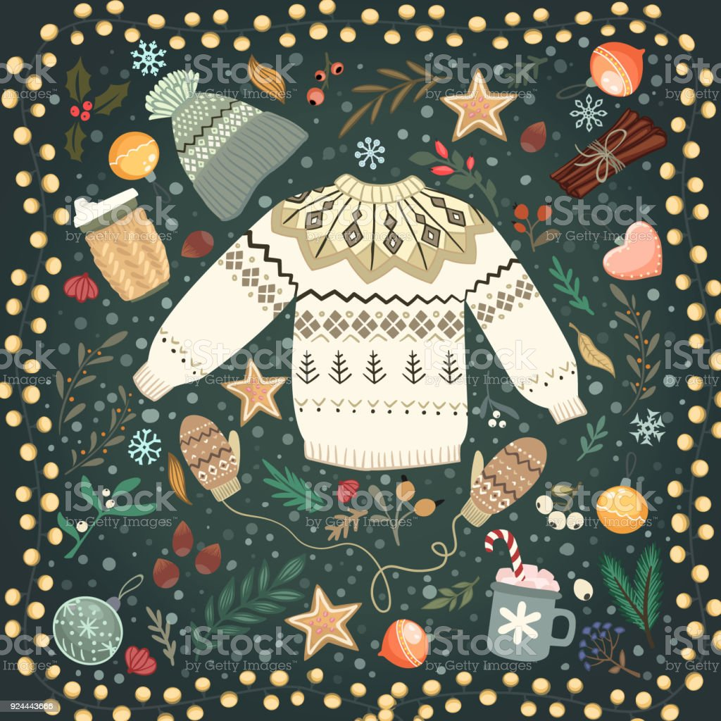 Stack of cozy knitted sweaters and lantern on a table vector art illustration