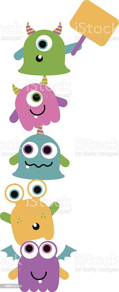 Stack of Cute Monsters vector art illustration